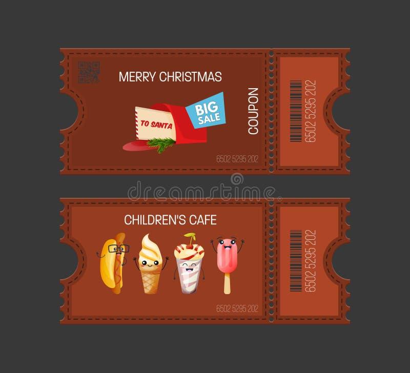 Frohe Weihnachten, Cafékonzept der Kind s Backt Kupon zusammen Geschenkgutscheinkarte vektor abbildung