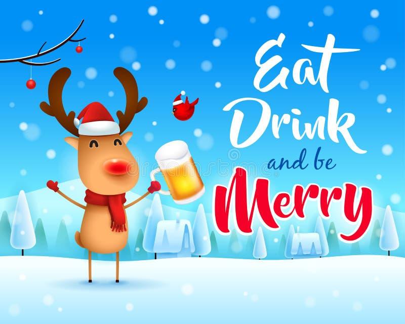 Frohe Weihnachten! Das rotnasige Ren mit Bier in der Weihnachtsschneeszenen-Winterlandschaft lizenzfreie abbildung