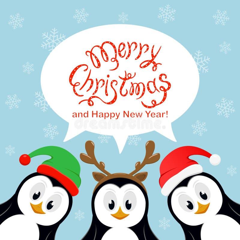 Frohe Weihnachten in der Spracheblase mit Schneeflocken und pengu drei lizenzfreie abbildung