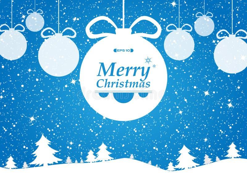 Frohe Weihnachten des blauen Hintergrundes in den Wald- und Schneegeschenken lizenzfreie abbildung