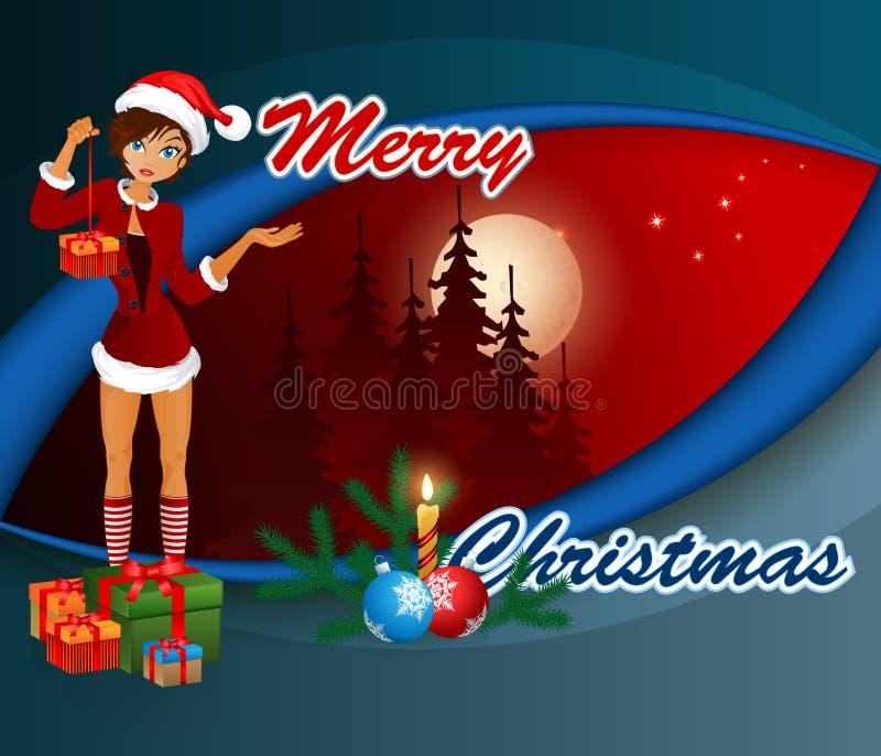 Frohe Weihnachten, Designhintergrund mit Karikatur Sankt-Mädchen und Geschenkboxen stock abbildung