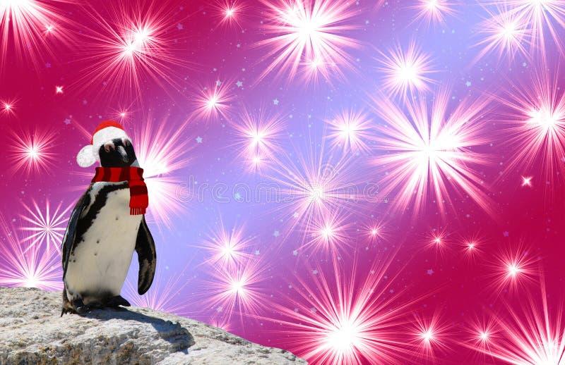 Frohe Weihnachten ein lustiger Pinguin, der einen Schal und einen Weihnachtsmann-Hut lokalisiert auf einem bunten Hintergrund mit lizenzfreie stockbilder
