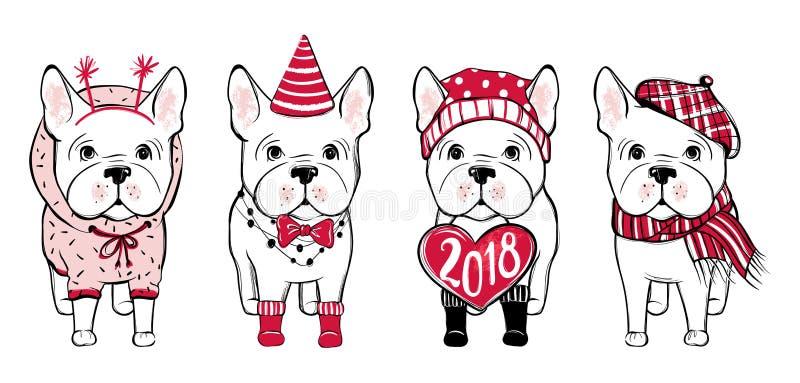 Frohe Weihnachten eingestellt mit lustigem Hund Hand gezeichnetes Vektorfranzosen bul lizenzfreie abbildung