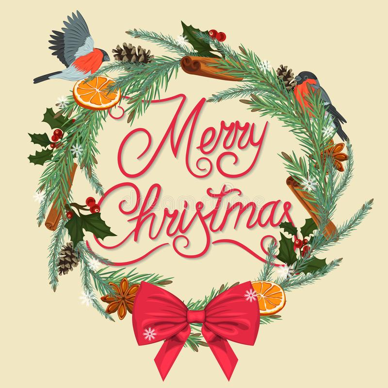 Frohe Weihnachten Festlicher Wreath vektor abbildung
