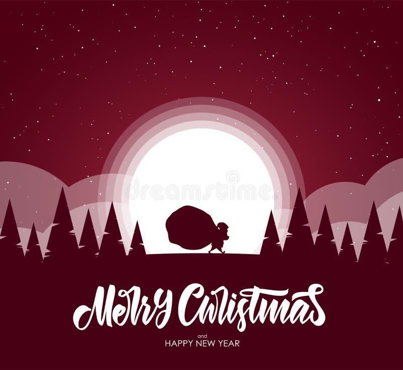 Frohe Weihnachten Flache Karikaturszene Schattenbild von Santa Claus trägt einen Sack voll Geschenke im Wald stock abbildung