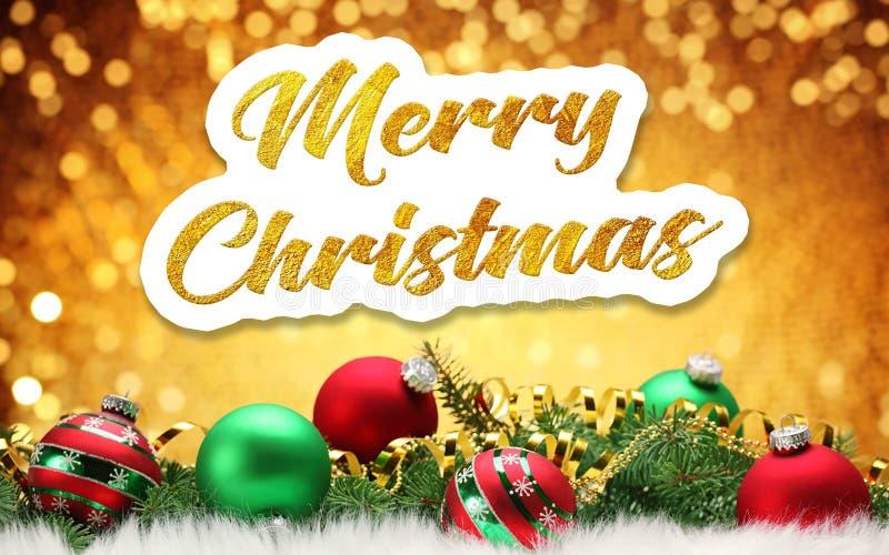Frohe Weihnachten Goldene Aufschrift auf einem festlichen Hintergrund stock abbildung