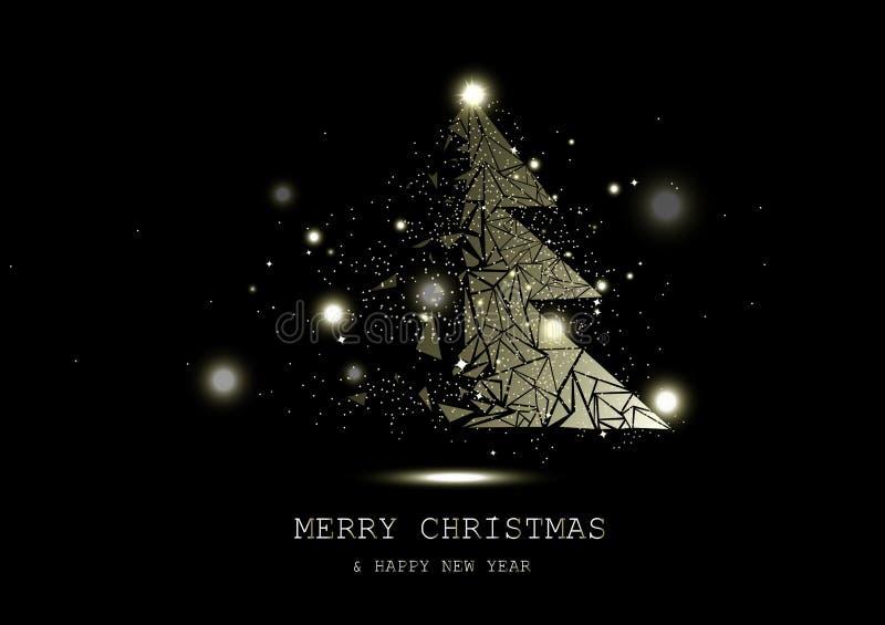 Frohe Weihnachten, goldenes glühendes Baumphantasiewunder, Konfettisterne funkeln, Natur-, Raum- und Astronomieluxuskonzeptzusamm vektor abbildung