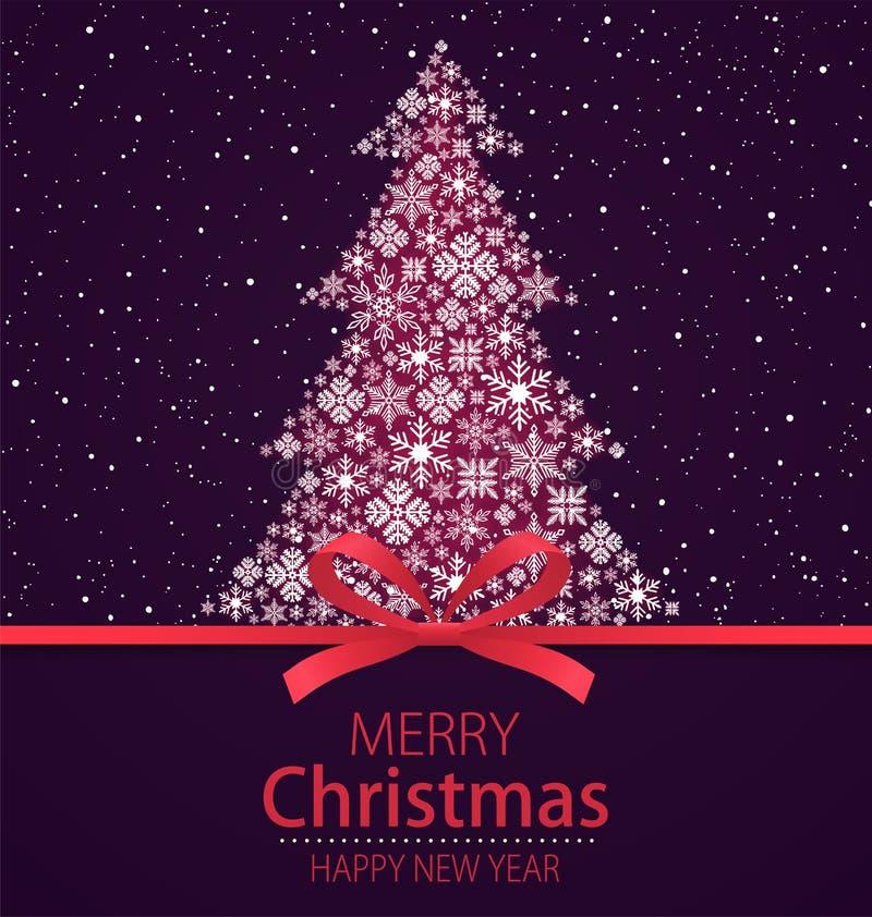 Frohe Weihnachten, guten Rutsch ins Neue Jahr-Grußkarte Weihnachtsbaum mit rotem Bogen und fallender Schnee auf dunklem Hintergru lizenzfreie abbildung