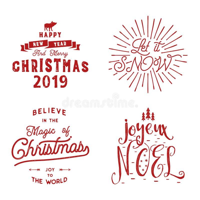 Frohe Weihnachten Guten Rutsch ins Neue Jahr, Joyeux Noel 2019 Typografiesatz Feiertagslogo, Embleme, Textentwurf Gebrauch für T- lizenzfreie abbildung