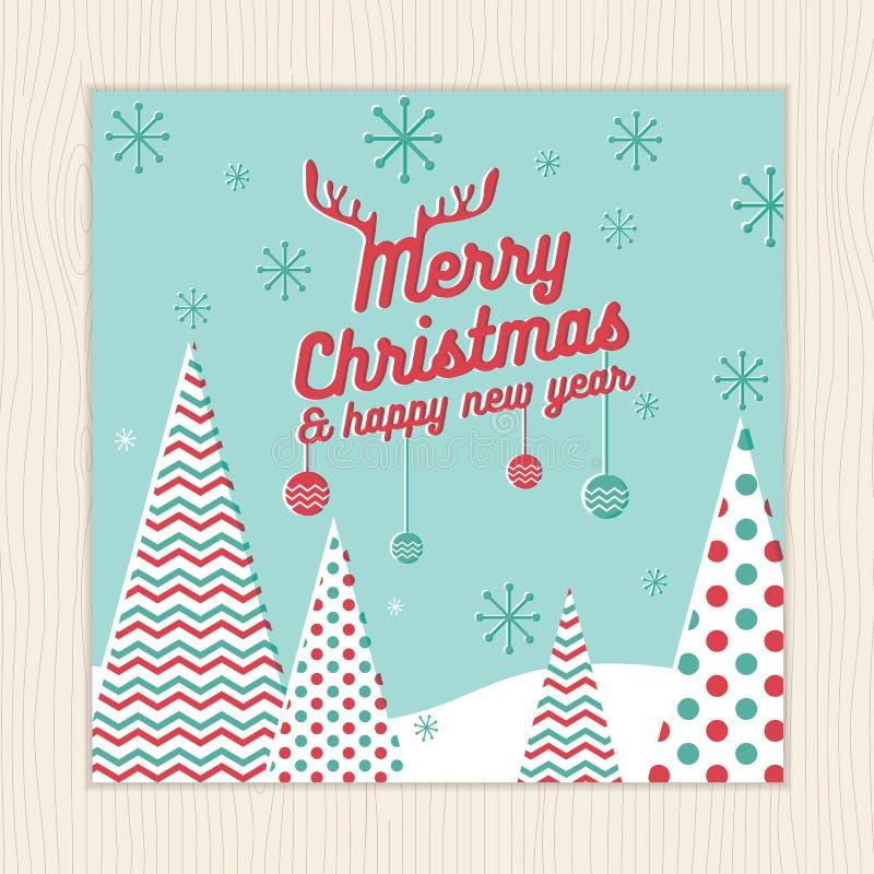 Frohe Weihnachten, guten Rutsch ins Neue Jahr-Karte oder Plakatschablone mit Weihnachtsbaumhintergrund im grünen tadellosen Farbv vektor abbildung