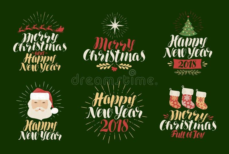 Frohe Weihnachten, guten Rutsch ins Neue Jahr, Kennsatzfamilie Weihnachten, Weihnachtszeit, Feiertagsikone oder Logo Beschriftung stock abbildung