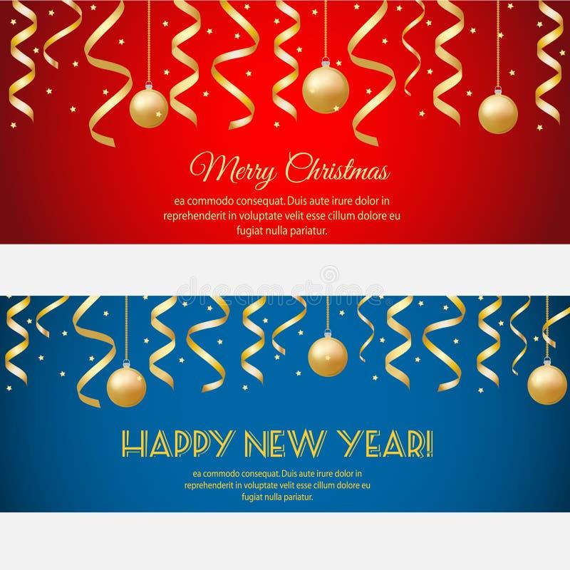 Frohe Weihnachten, horizontale Fahnen des guten Rutsch ins Neue Jahr mit goldenen Ausläufern und Flitter auf rotem und blauem Hin vektor abbildung