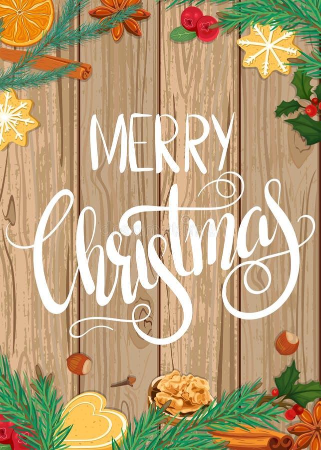 Frohe Weihnachten Illustration auf hölzernem Hintergrund stock abbildung