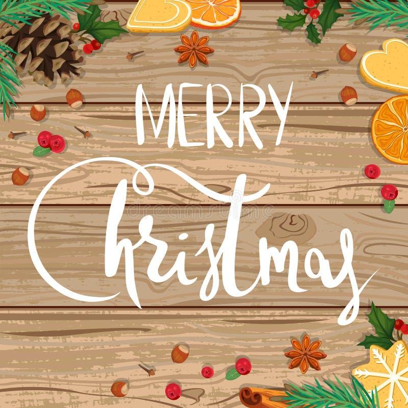 Frohe Weihnachten Illustration auf hölzernem Hintergrund lizenzfreie abbildung