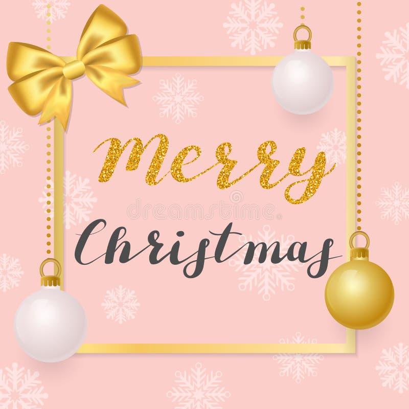 Frohe Weihnachten Illustration mit goldenen Bällen auf einem rosa Hintergrund stock abbildung