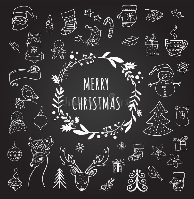 frohe weihnachten kritzeln sie weihnachtssymbole hand gezeichnete illustrationen stock. Black Bedroom Furniture Sets. Home Design Ideas