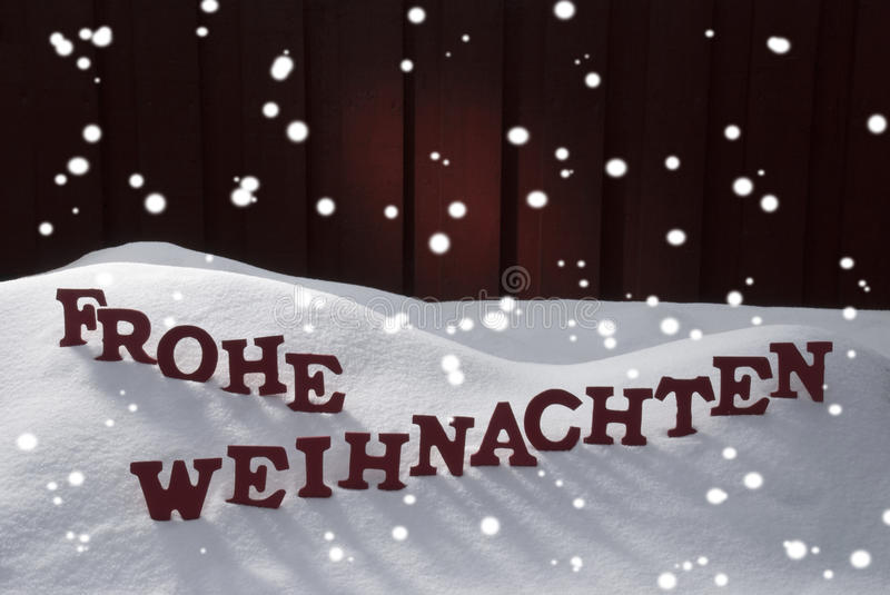 Frohe Weihnachten Means Merry Christmas Snowflakes. Red Letters Building German Word Frohe Weihnachten Means Merry Christmas.Decoration Card For Seasons royalty free stock image