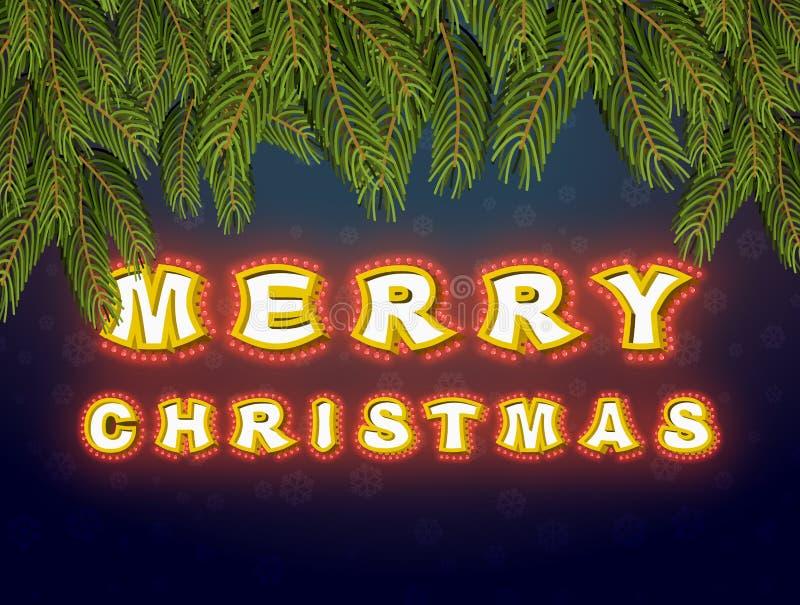Frohe Weihnachten mit Lampentannenzweigen Glühende Zeichen Vintag vektor abbildung
