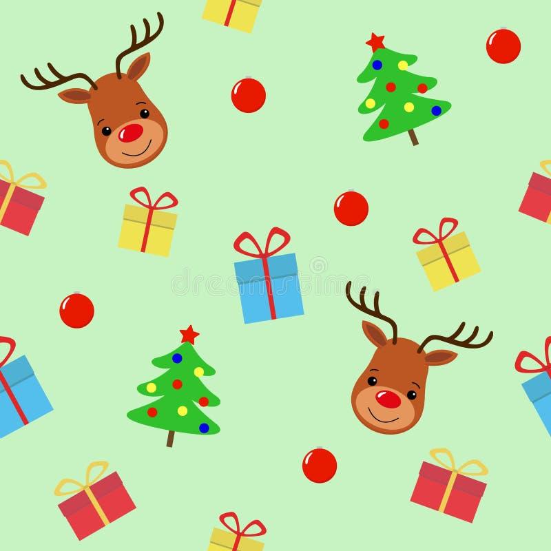 Frohe Weihnachten mit nahtlosem Muster der Rotwild Feiertagskarikaturvektor Tiercharakter der netten wild lebenden Tiere vektor abbildung