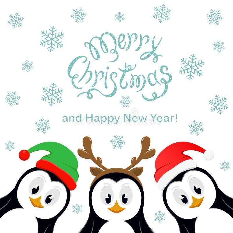 Frohe Weihnachten mit Schneeflocken und drei Pinguinen auf Weißrückseite stock abbildung