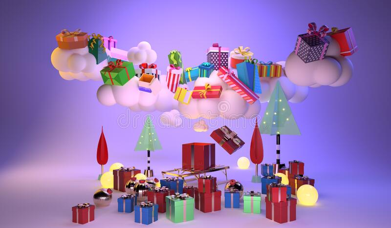 Frohe Weihnachten mit vielen Wolken schwebt aus großen Geschenkschachteln und es gibt viele Geschenkschachteln oben Minimalkonzep lizenzfreie stockbilder
