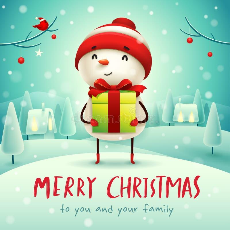 Frohe Weihnachten! Netter Schneemann mit Geschenkgeschenk in der Weihnachtsschneeszenen-Winterlandschaft lizenzfreie abbildung