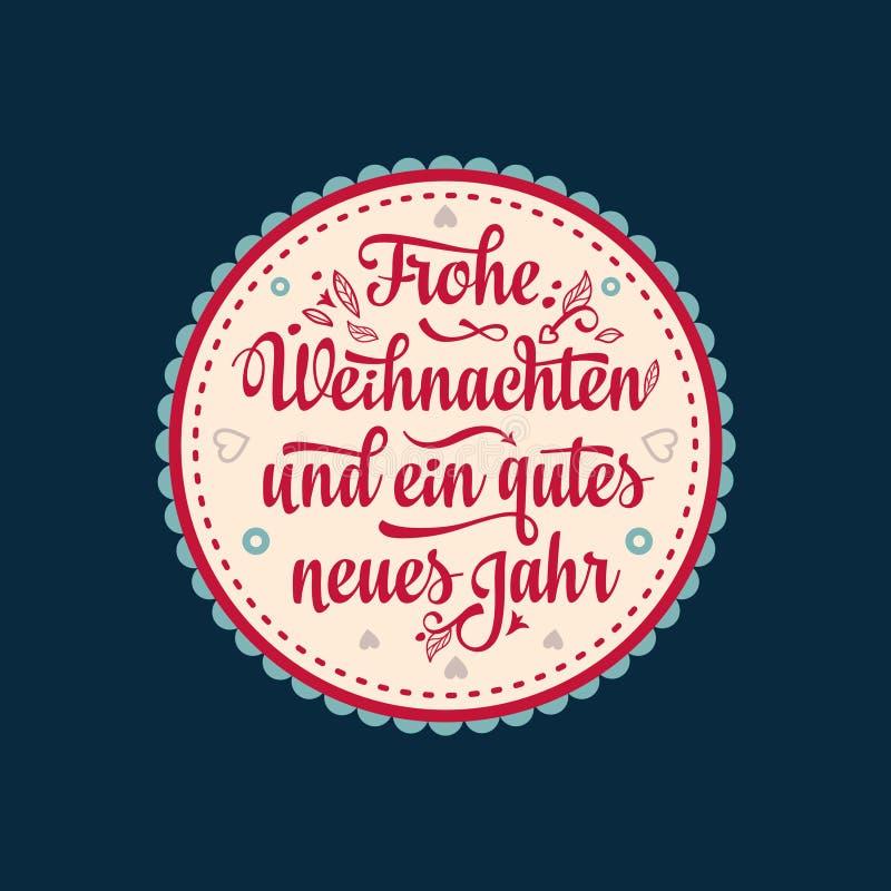 Frohe Weihnachten. Neues Jahr. Congratulations in German language. Happy Christmas in Deutschland. Frohe Weihnacht. Neues Jahr. Congratulations in German vector illustration