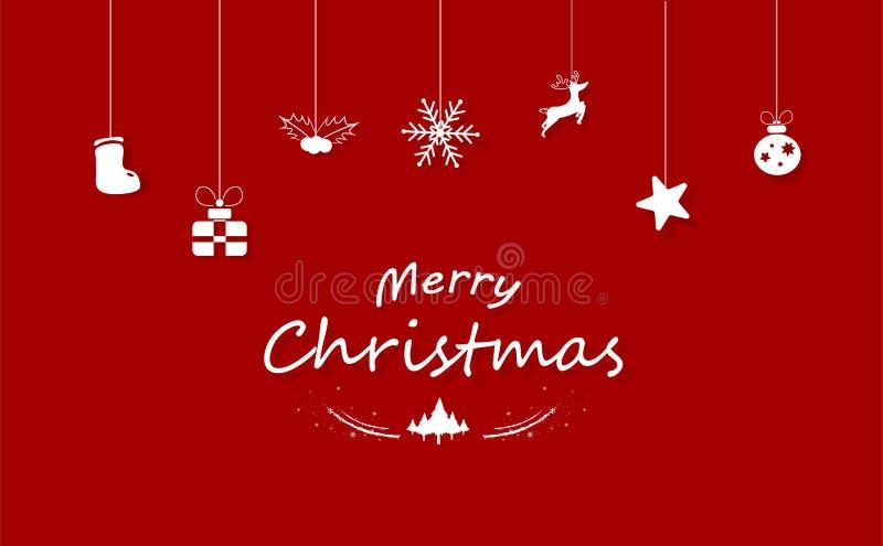 Frohe Weihnachten, rote Dekoration, weißes Konzept Santa Claus, Zügel lizenzfreie abbildung
