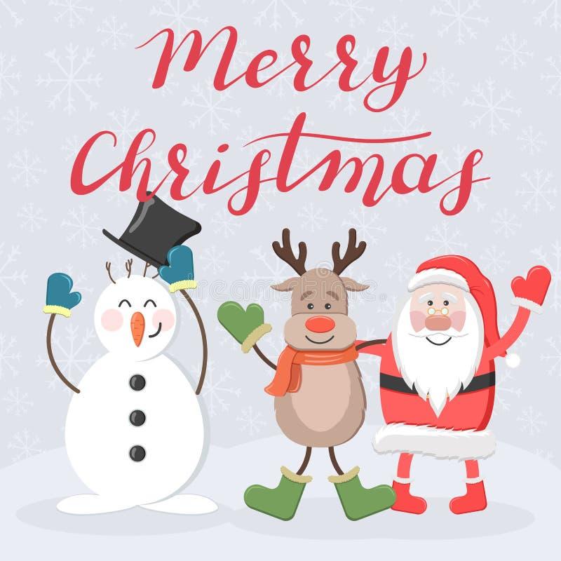 Frohe Weihnachten Sankt, Rotwild und Schneemann stock abbildung