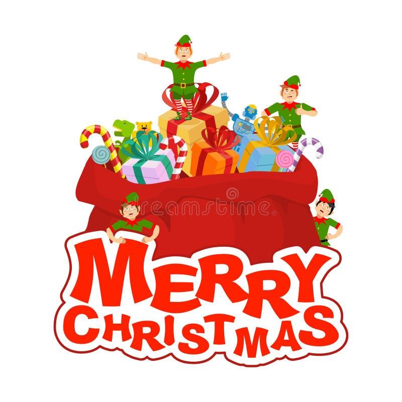 Frohe Weihnachten Sankt-Tasche mit Geschenk und Elfen Großer roter Sack für stock abbildung