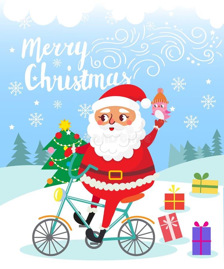 Frohe Weihnachten Santa Claus auf Fahrrad mit Geschenken lizenzfreie abbildung