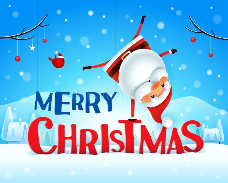 Frohe Weihnachten! Santa Claus, die auf seinem Arm in der Weihnachtsschneeszenen-Winterlandschaft steht lizenzfreie abbildung