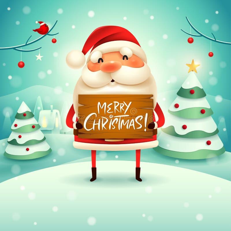 Frohe Weihnachten! Santa Claus hält hölzernes Brett unterzeichnen in der Weihnachtsschneeszenen-Winterlandschaft stock abbildung
