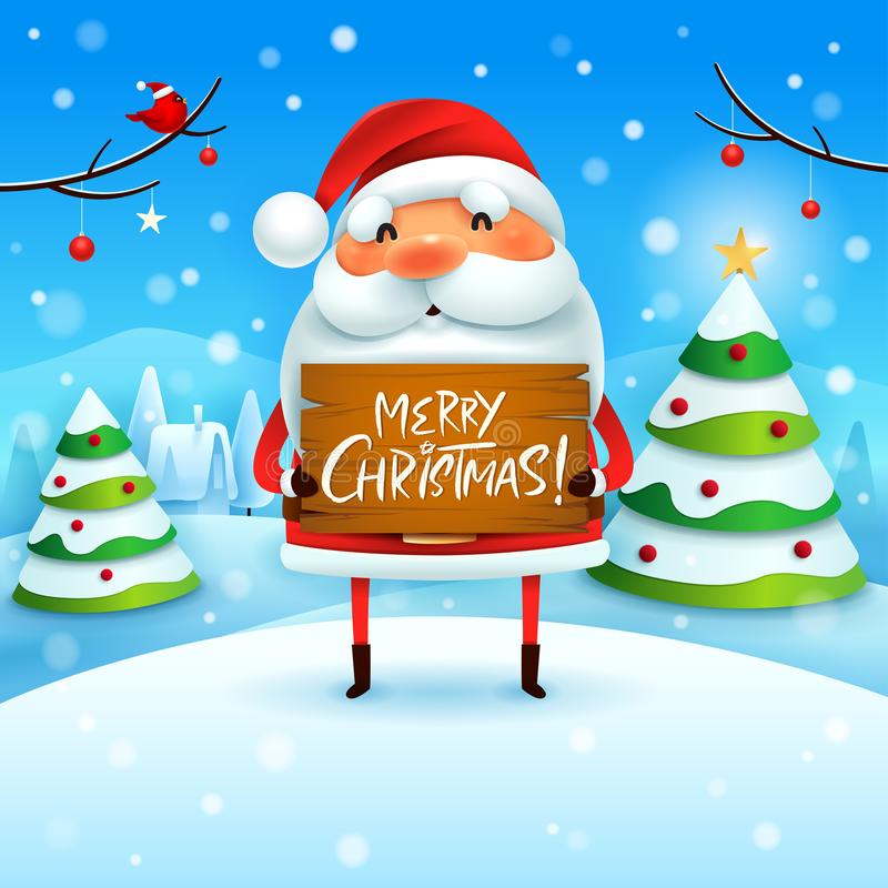 Frohe Weihnachten! Santa Claus hält hölzernes Brett unterzeichnen in der Weihnachtsschneeszenen-Winterlandschaft lizenzfreie abbildung