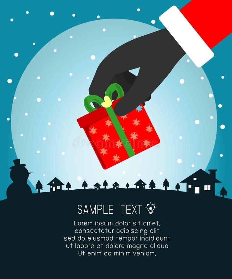 Frohe Weihnachten, Santa Claus Holding Christmas Gift, Schablone für Werbungsbroschüre, Ihren Text, Santa Claus und Rahmen, glück lizenzfreie abbildung