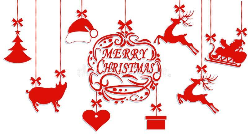 Frohe Weihnachten Santa Claus-Hut, Rotwild, Herz, Geschenk, Schwein- und Weihnachtsbaum Herausgeschnitten vom Papier Abbildung lizenzfreie abbildung