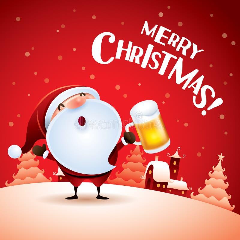Frohe Weihnachten! Santa Claus mit Bier lizenzfreie abbildung