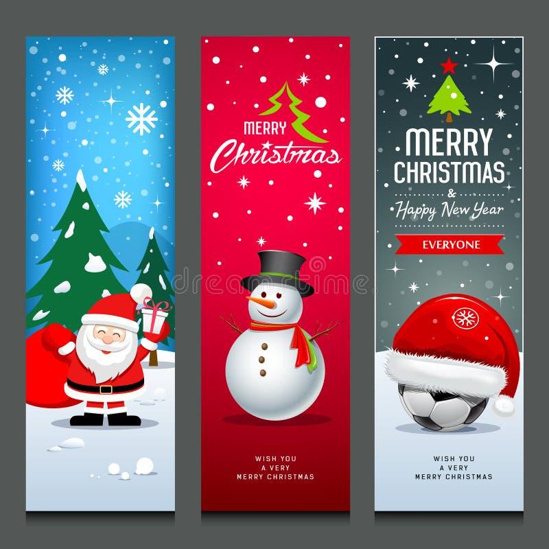 Frohe Weihnachten, Santa Claus, Schneemann und Hut, Fahnen entwerfen vertikale Sammlungen lokalisierten Hintergrund, Vektorillust stock abbildung