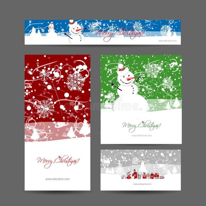 Frohe Weihnachten, Satz Postkarten mit Winterbaum stock abbildung