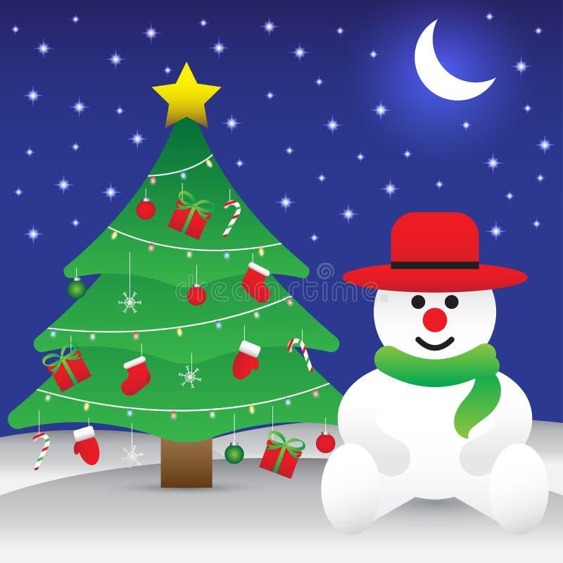 Frohe Weihnachten - Schneemann, der nahe bei Weihnachtsbaum sitzt lizenzfreie abbildung