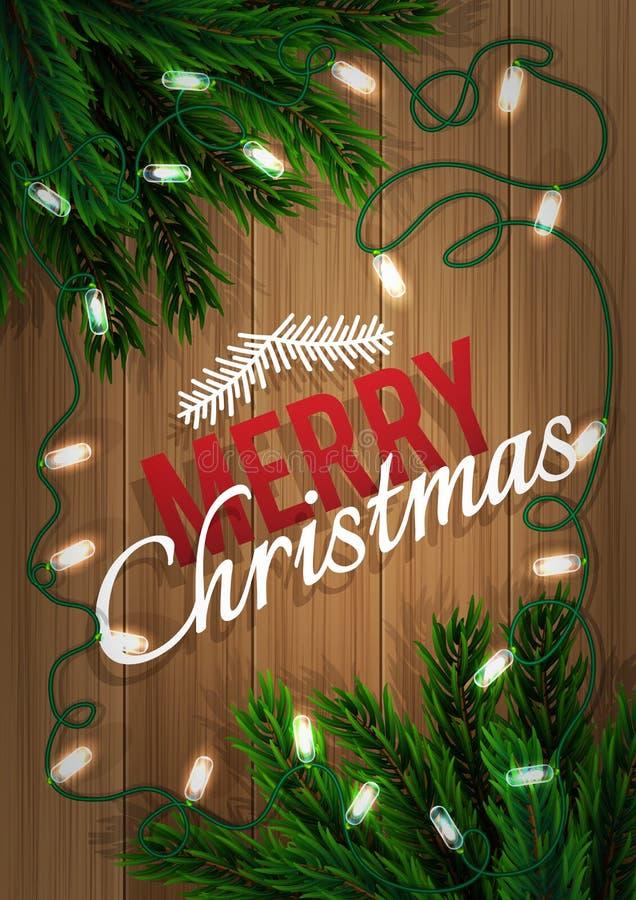 Frohe Weihnachten Tannenbaumniederlassung mit einer hellen Girlande auf einem hölzernen Brett Weihnachts- und des neuen Jahresgru stock abbildung