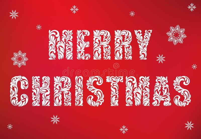 Frohe Weihnachten Text gemacht von den Florenelementen auf einem roten Hintergrund stock abbildung