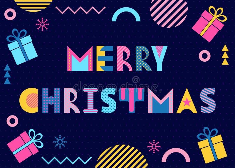 Frohe Weihnachten Text, Geschenke und Zusammenfassung färbten Formen auf dunkelblauem Hintergrund Memphis-Art vektor abbildung