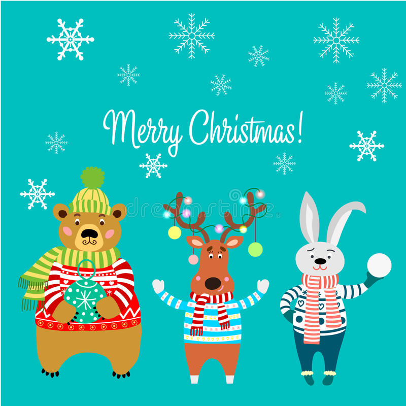 Frohe Weihnachten, Tiere, Bär, der eine Strickjacke mit Schneeflocken tragen, Kaninchen, Rotwild mit Lichtern und Kaninchen vektor abbildung