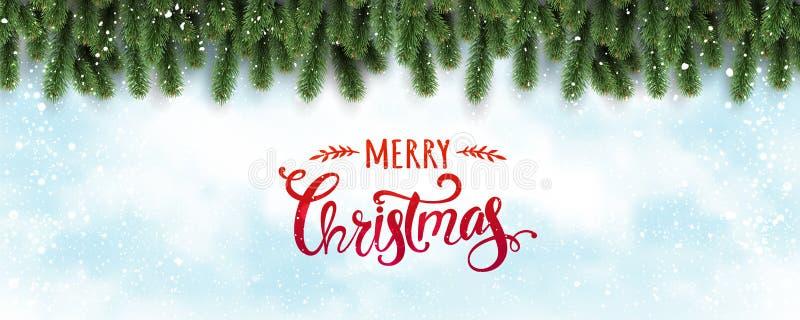 Frohe Weihnachten typografisch auf weißem Hintergrund mit den Baumasten verziert mit Sternen, Lichter, Schneeflocken vektor abbildung