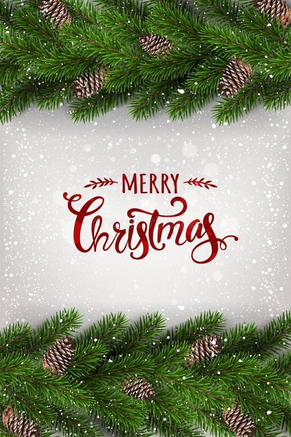Frohe Weihnachten typografisch auf weißem Hintergrund mit Girlande von den Baumasten verziert mit Sternen, Lichter, Schneeflocken vektor abbildung