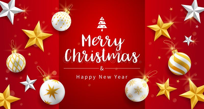 Frohe Weihnachten und glückliche neue Jahreskarte mit Gold-, Silber- und Weihnachtsgeschmack und Blendenhintergrund lizenzfreie abbildung