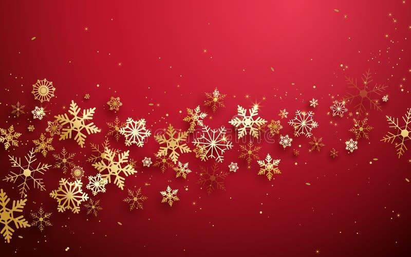 Frohe Weihnachten und guten Rutsch ins Neue Jahr Abstrakte Goldschneeflocken auf rotem Hintergrund stock abbildung