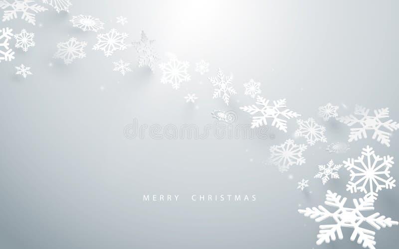 Frohe Weihnachten und guten Rutsch ins Neue Jahr Abstrakte Schneeflocken im weißen Hintergrund stock abbildung