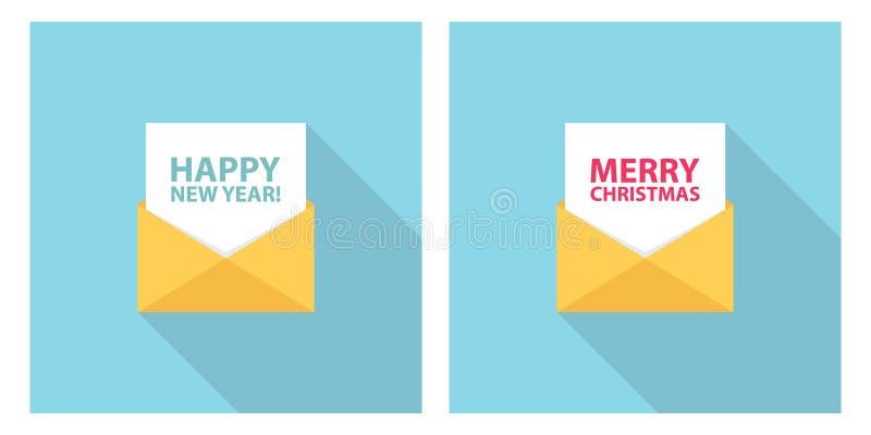 Frohe Weihnachten und guten Rutsch ins Neue Jahr feiern Buchstaben, E-Mail, sms oder Mitteilung Eingestellt für Urlaubsgrüße und  stock abbildung